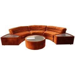 Mid-Century Modern Baughman Curved Sectional Sofa & Side Coffee Table Set, 1970s