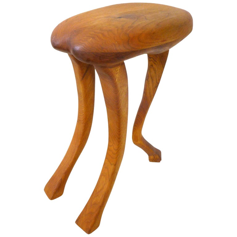 Laminated and Hand Carved Wood Zoomorphic Stool For Sale