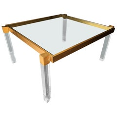 "Charles Hollis Jones ""Box Line"" Dining Table in Lucite and Antique Solid Brass"