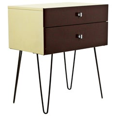 Mid-Century Modern Rougier Brown Yellow Side End Table Hairpin Legs, 1960s