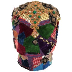 Gorgeous Mixed-Media Crazy Quilt and Gold Lame Head Sculpture