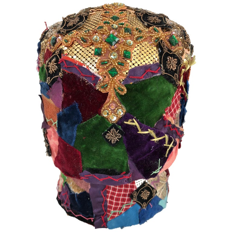 Gorgeous Mixed-Media Crazy Quilt and Gold Lame Head Sculpture For Sale