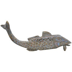 Large Hand Carved Solid Wood Koi Fish Carving Sculpture Figure Blue Painted