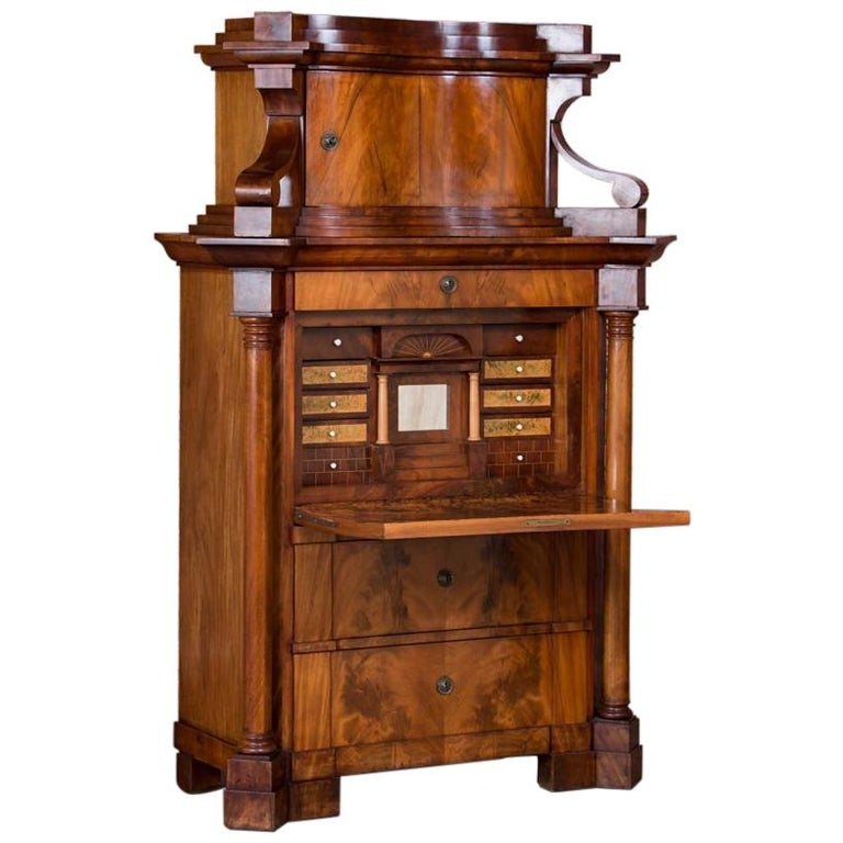 Antique German Mahogany Biedermeier Secretary Desk For Sale