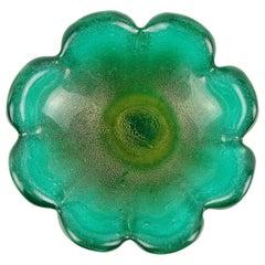 Seguso Vetri d'Arte Murano Green Gold Flecks Pulegoso Italian Art Glass Bowl
