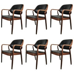 Six Black Don Petitt Bentwood Armchairs for Knoll