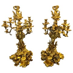 Pair of Monumental 19th Century Gilt Bronze Louis XV Nine Light Candelabrum