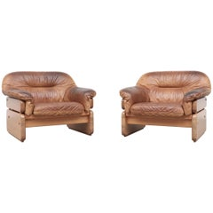 Pair of Gerard Van Den Berg Inspired Pine and Leather Lounge Chairs