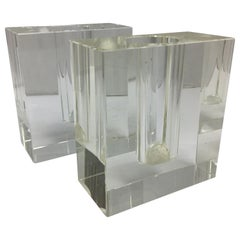 Mid-Century Modern 1970s Italian Square Heavy Glass Candlesticks Made in Italy