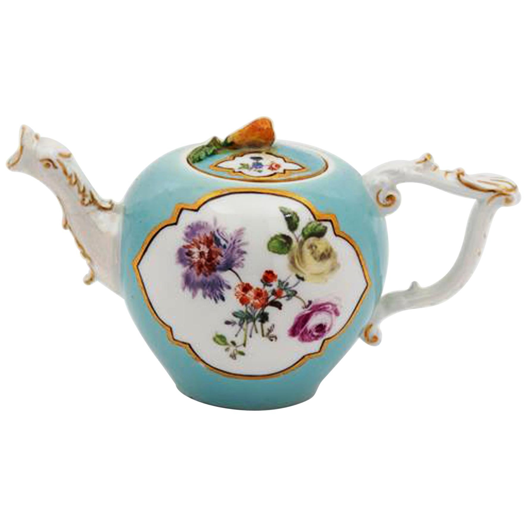 18th Century Meissen Miniature Turquoise-Ground Botanical Teapot and Cover