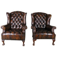 Pair of English Queen Anne Style Leather Tufted Armchairs