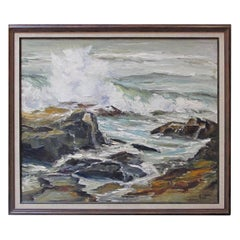 """Seascape"" Oil on Canvas 1950s by California Artist Lucille Kent"