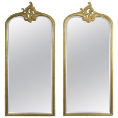 Monumental Mirrors Carved Wood Gilt Wood Mirrors, Pair