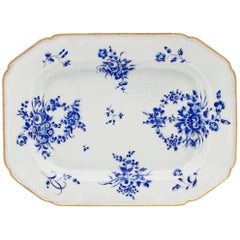 First Period Worcester Dry Blue Enamel Large Dish or Platter, circa 1768-1970