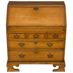 Victorian Period Light Oak Slant Front Bureau Secretary Butlers Desk