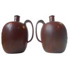 Pair of Matching Pottery Bottle Vases by Arne Bang Red/Brown Sung Glazes