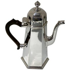 20th Century Modern George V Sterling Silver Coffee Pot London 1935 S J Phillips