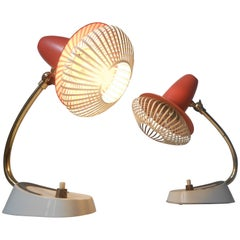 Pair of Small Italian Modern Bedside Table Lamps with Wire Mesh, Stilnovo Era