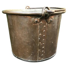 Mid-1800s Sizeable and Decorative Handcrafted Copper Firewood Bucket with Rivets