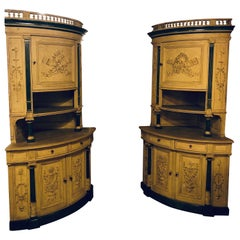 Pair of 19th Cent Monumental Paint Decorated Corner Cabinets Faux Marble Columns