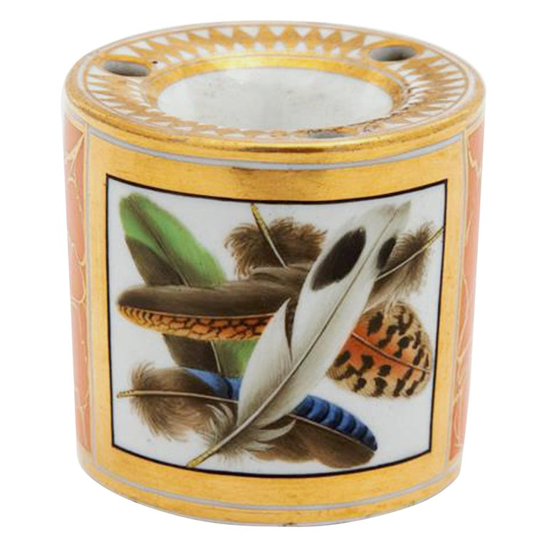 Regency Chamberlain Worcester Porcelain Feather-decorated Inkwell For Sale