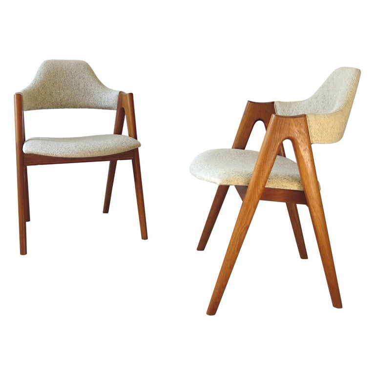 Vintage Compass Chairs by Kai Kristiansen in Solid Teak and Wool, Denmark, 1950s 1