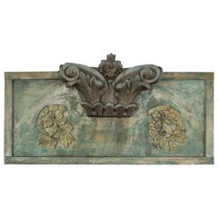 Carved Wood Painted Panel with Capital Element