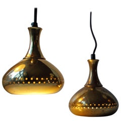 Pair of Small Brass Pendant Lamps by Hans-Agne Jakobsson for Markaryd AB
