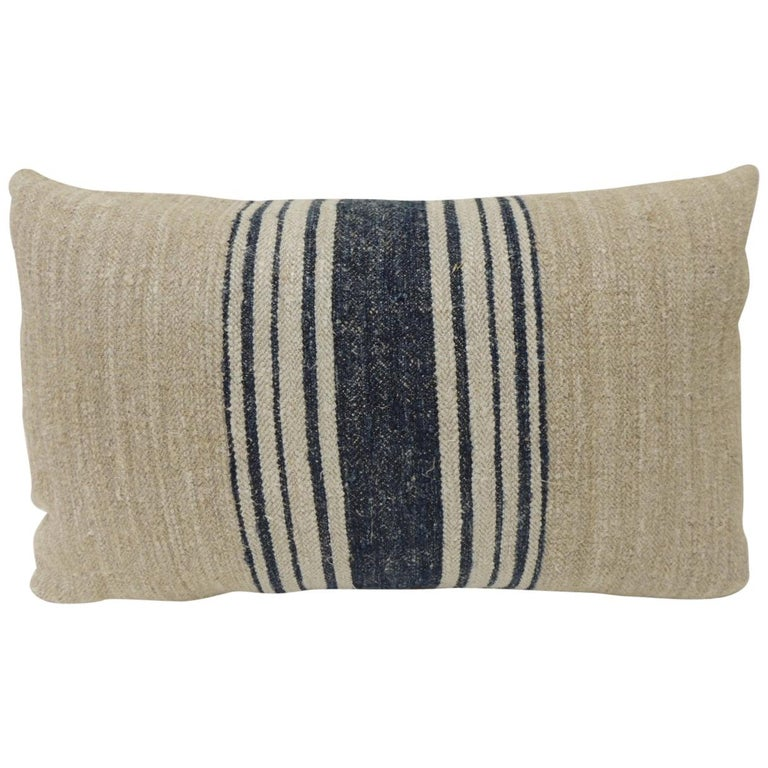 19th Century French Blue Stripes Grain Sack Decorative Lumbar Pillow For Sale