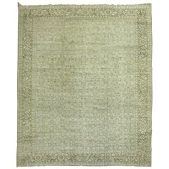 Grayscale Antique Persian Tabriz Rug