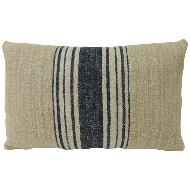 19th Century French Blue Stripes Decorative Grain Sack Lumbar Pillow For Sale