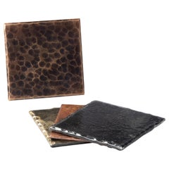 Forged Bronze Square Coaster with Decorative Planished Surface