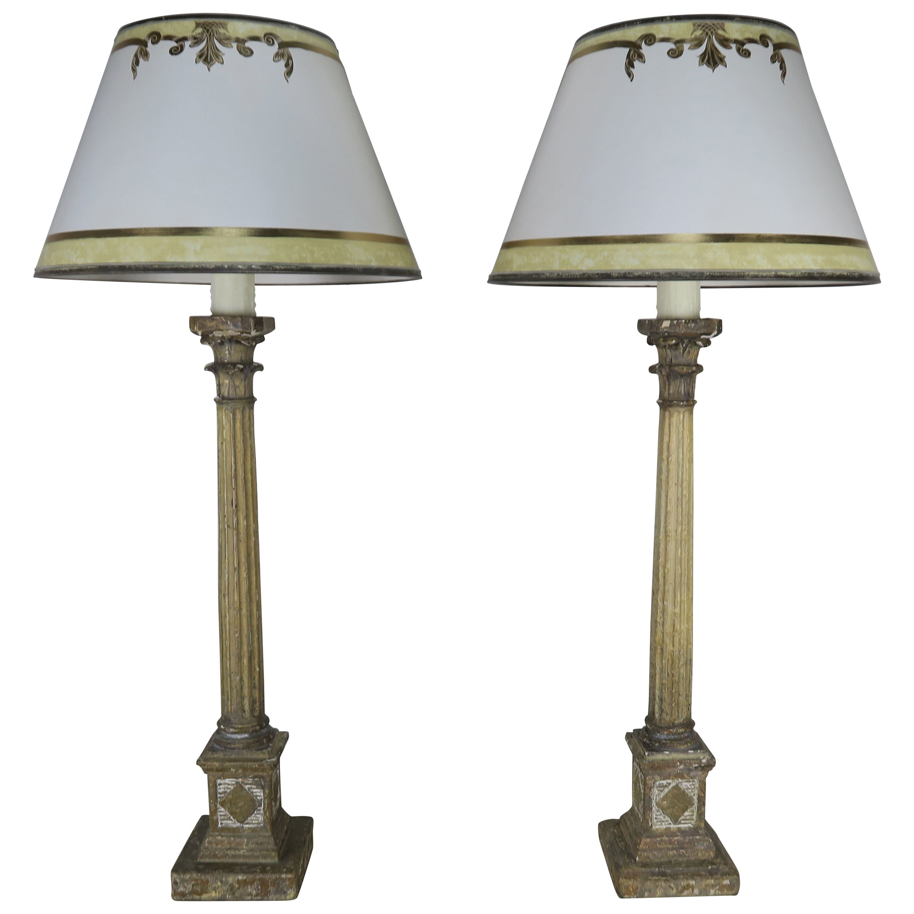 Pair of Painted Neoclassical Lamps with Parchment Shades