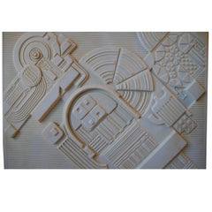 Abstract Bisque Wall Plaque with Architectural Theme by Eduardo Paolozzi, 1978