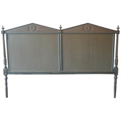 French XIX Louis XVI Hand Carved Hand Painted Extra Wide Bed Headboard