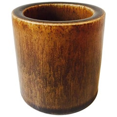 Danish Modern Stoneware Vase with Haresfur Glaze by Eva Staehr Nielsen, Saxbo