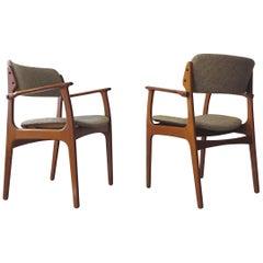 Erik Buch Mid-Century Modern Armchairs Set in Solid Teak & Wool, Denmark, 1960s