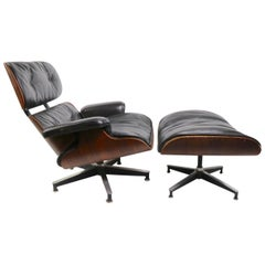 Iconic Eames Lounge Chair and Ottoman in Rosewood
