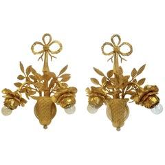 Pair of Louis XVI Style Gilt Bronze Floral Sconces
