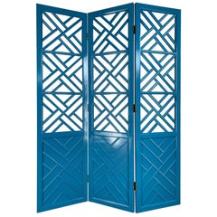 Chinese Chippendale Three-Panel Room Divider Screen