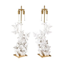 Pair of Lamps with Butterflies