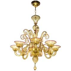 Venetian Gold Glass Chandelier, Italy