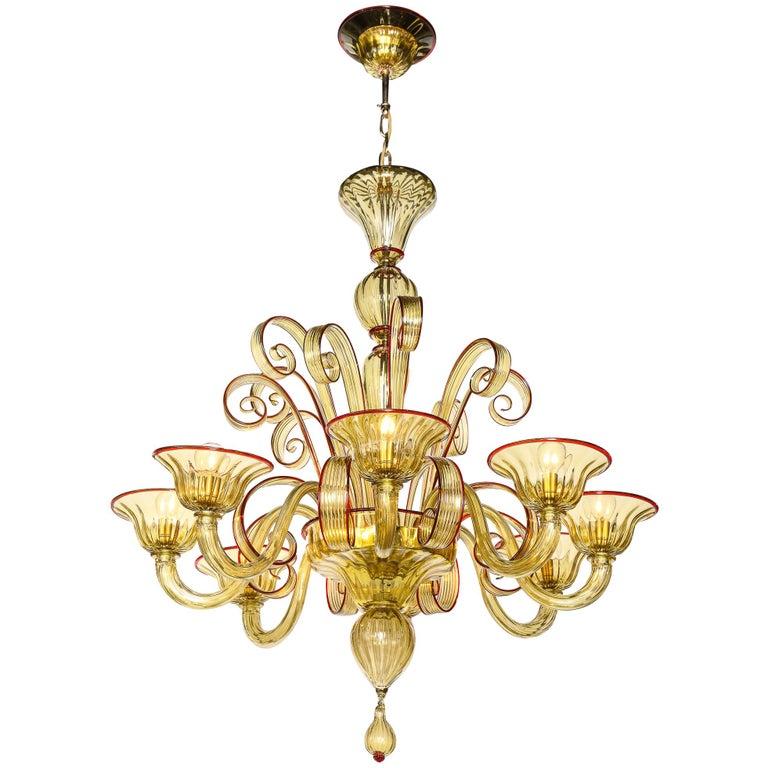 Venetian Gold Glass Chandelier, Italy For Sale