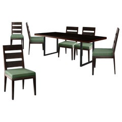 Desiron Charcoal Ash Arte Dining Table & Gramercy Dining Chair Set, Burnt Steel