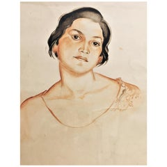 Irina Shtenberg, Portrait of a Young Woman, Watercolor on Paper, circa 1940s