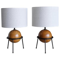 California Modern Iron and Wood Lamps by Albert Blake