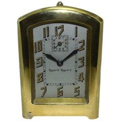 Art Deco Brass French Alarm Clock by Bayard, circa 1930