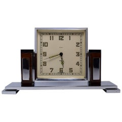 Art Deco Chrome and Bakelite Eight Day Clock, circa 1930