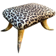 Small Antique Faux Cheetah Hide Upholstered Horn Footstool