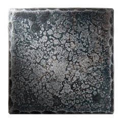Steel Square Coaster with Hammered and Forged Surface